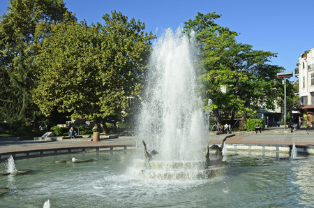 preferred: Plovdiv, Bulgaria - September 23rd 2016: Unidentified people around fountain on Stefan Stambolov square, preferred place in the city Editorial