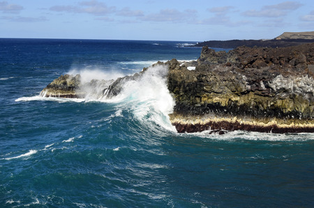 Spain, rocky coast and waves in Lanzarote, Canary Island