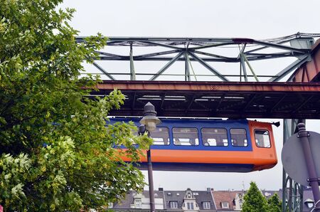 usual: Wuppertal, North Rhine-Westphalia, Germany - May 27th 2011: Unidentified people in public overhead train, usual mode of transport in the city Editorial