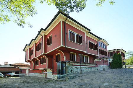 Plovdiv, Bulgaria - September 23rd 2016: Building in traditional structure in Old Town district aka Staria Grad, a Unesco world heritage site, became European Capital of Culture 2019 Editorial