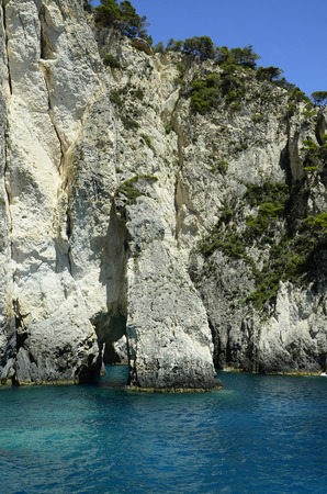 greece shoreline: Greece, Zakynthos Iceland, natural arches and caves Stock Photo