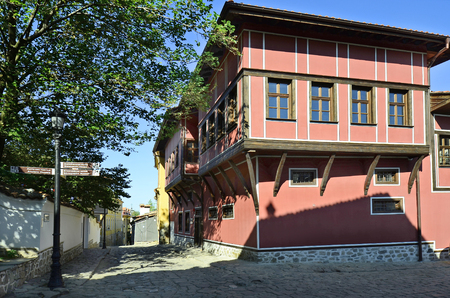 unesco culture heritage: Plovdiv, Bulgaria - September 23rd 2016: Klianty House built 18th century in traditional structure in Old Town district aka Staria Grad, a Unesco world heritage site, became European Capital of Culture 2019 Editorial