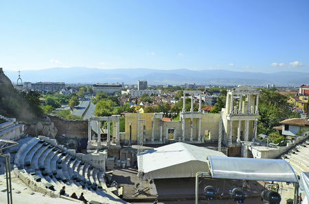 unesco culture heritage: Plovdiv, Bulgaria - September 23rd 2016: Unidentified tourists by sightseeing in ancient theatre in Old Town district, Unesco world heritage site, became European Capital of Culture 2019 Stock Photo