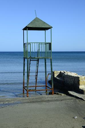 ionian: Greece, Zakynthos Island, damaged rescue lookout on beach in Laganas