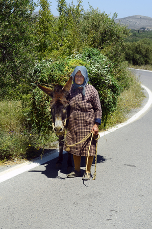 Mochos, Greece - May 23rd 2014: Unidentified old woman on road with her donkey, fully laden with greens in the mountain area in Crete