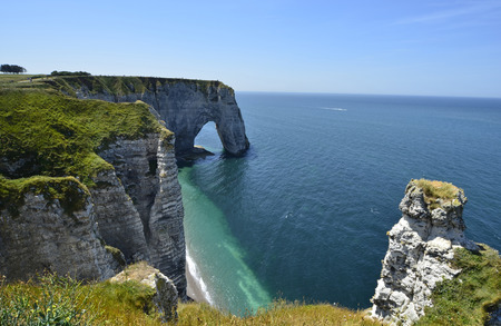 normandy: France, Normandy, beach and rock formation in Etretat