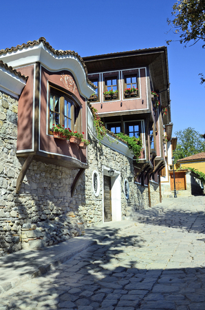 unesco culture heritage: Bulgaria, Plovdiv, building in traditional structure in Unesco World Heritage site Old Town district aka Staria Grad, became European Capital of Culture 2019