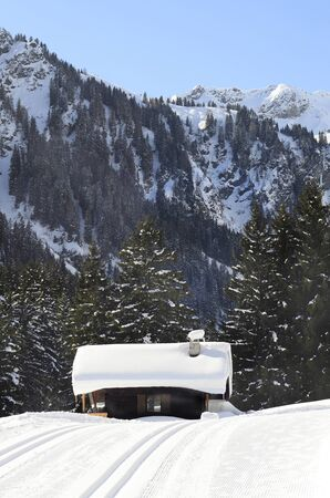 ski lodge: Austria, cross country ski track and snow covered small lodge