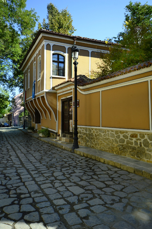 unesco culture heritage: Bulgaria, Plovdiv, building in traditional structure in Old Town district aka Staria Grad, a Unesco world heritage site, became European Capital of Culture 2019
