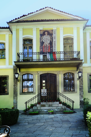 traditonal: Plovdiv, Bulgaria - September 23, 2016: Traditonal building in Unesco World Heritage site in Old Town, Dr. Stoyan Chomakov House, built 19th century, used for different expositions