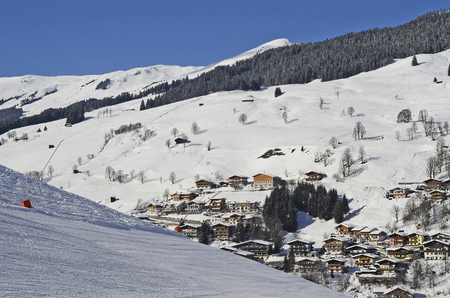 ski resort: Austria, winter in ski resort Saalbach-Hinterglemm in Salzburg Stock Photo