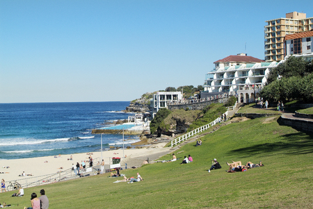 Sydney, Australia - May 07, 2010: Unidentified people and buildings on Bondi Beach, hot spot and preferred beach
