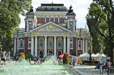 Sofia, Bulgaria - September 25th 2016: Unidentified people in city park named Gradska Gradina with fountain and national theater Ivan Vazov Editorial