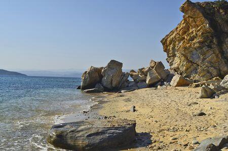Greece, Athos peninsula, public beach in Ouranoupolis