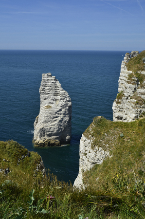 France, Normandy, sea and rock formation in Etretat