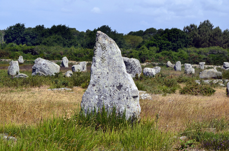 alignement: France, megalith stones in Unesco World Heritage site of ancient Carnac