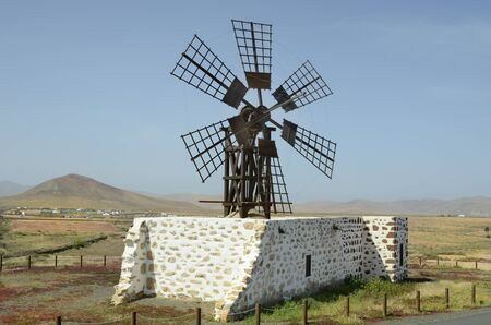 archtecture: Spain, Canary Island, Fuerteventura, landscape wirh old windmill