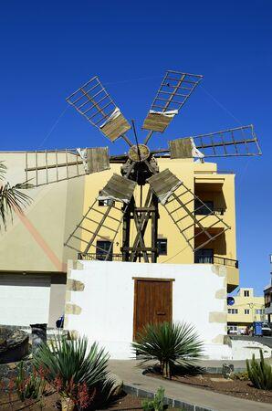 Spain, Canary Island, Fuerteventura, old windmill in Corralejo village Stock Photo