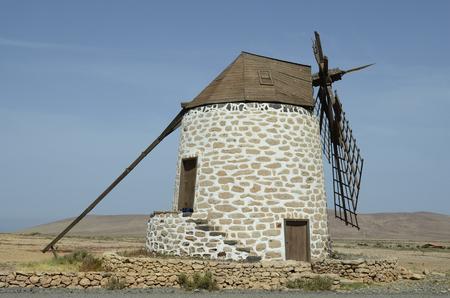 Spain, Canary Island, Fuerteventura, windmill in Tefia named Molino de Tefia
