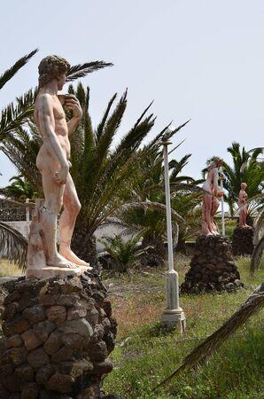 La Oliva, Fuerteventura, Spain - April 01, 2017: Public area with sculptures named Villas de los Artistas and chapel in the tiny village on Canary island Editorial