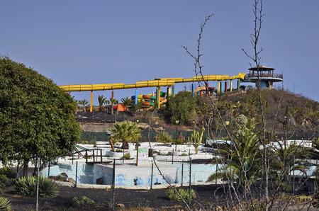 Corralejo,  Fuerteventura, Spain - April 02, 2017: Amusement area Aqua Water Park and mini golf  in the city on Canary Island Editorial