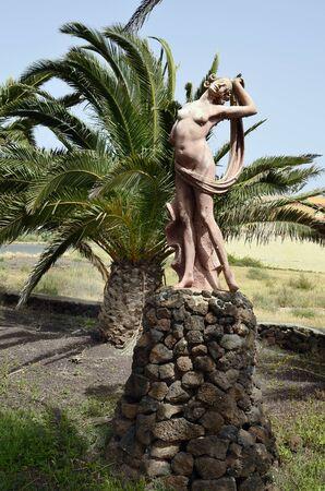 La Oliva, Fuerteventura, Spain - April 01, 2017: Public area with naked human sculptures named Villas de los Artistas in the tiny village on Canary island