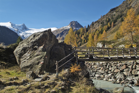 Austria, East-Tyrol, landscape in Gschloess valley with Austrian Alps Stock Photo