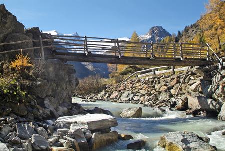 Austria, East-Tyrol, landscape in Gschloess valley with Austrian Alps Lizenzfreie Bilder