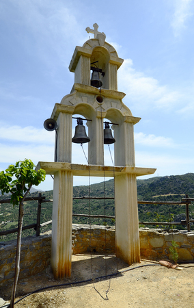Greece, Crete, bell tower of chapel apostles Petrus and Paulus in Axos Stock Photo
