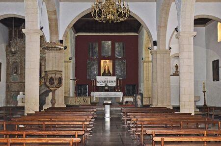 La Oliva, Canary Island, Fuerteventura - April 01, 2017: Inside church of Our Lady of La Candelaria, built 18th century - aka Iglesia Senora de la Candelaria