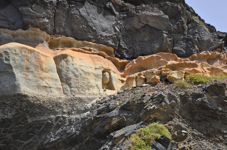 rock formation: Fuerteventura, Spain - April 01, 2017: Lava rock formation with artwork inside in El Puerte de Los Molinos,