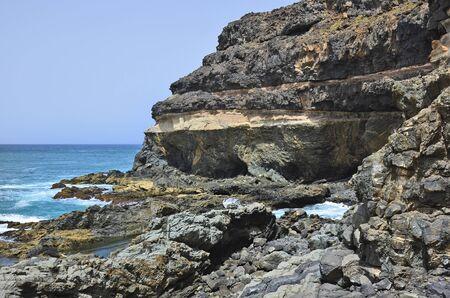 Spain, Canary Island, Fuerteventura, rocky coast in El Puerte de Los Molinos,
