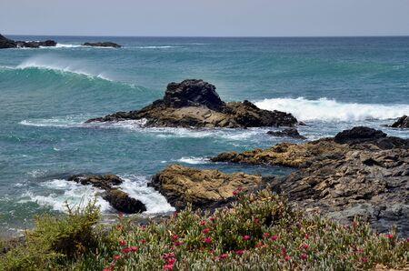 Spain, Canary Island, Fuerteventura, coast and waves in El Puerte de Los Molinos, Stock Photo