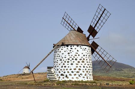 Spain, Canary Island, Fuerteventura, traditional windmills in Villaverde