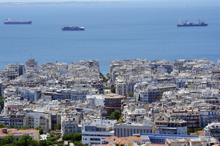 Greece, Thessaloniki aka Saloniki, cityscape view from old castle with Rotunda and White Tower