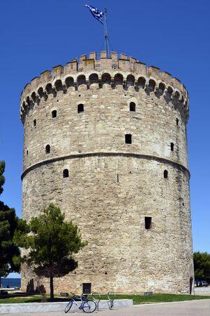 Greece, Thessaloniki aka Saloniki, medieval White Tower Stock Photo
