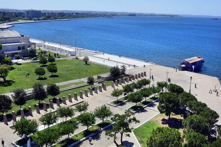 Thessaloniki, Greece - June 09, 2017: Cityview from White Tower to promenade along shore of Aegean sea