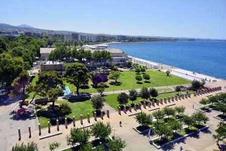 Greece, Thessaloniki aka Saloniki, cityscape with Aegean sea Stock Photo