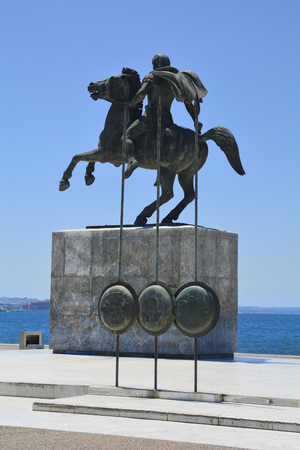 Thessaloniki, Greece - June 09, 2017: Monument for Alexander The Great located on the shore of Aegean sea