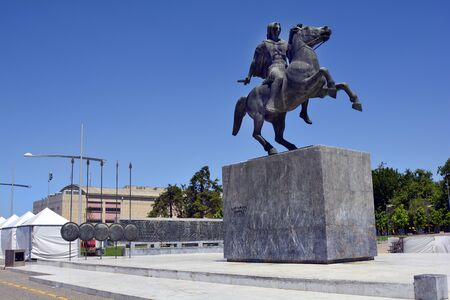 relievo: Thessaloniki, Greece - June 09, 2017: Monument for Alexander The Great located on the shore of Aegean sea