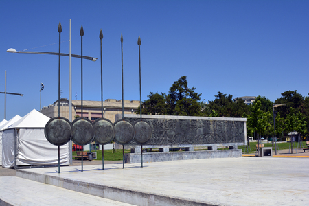 Thessaloniki, Greece - June 09, 2017: Part of memorial from Alexander The Great with shields and relievo
