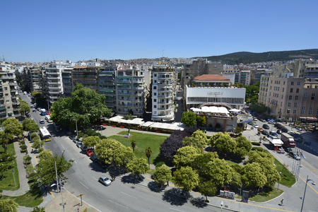 Thessaloniki, Greece - June 09, 2017: Cityscape with buildings, cinema and restaurant