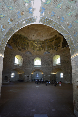 Thessaloniki, Greece - June 09, 2017: Unidentified people inside ancient building Rotunda, former mosque and church, a Unesco World Heritage site in the city in Central Macedonia