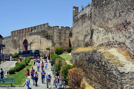 Thessaloniki, Greece - June 09, 2017: Unidentified tourists by sightseeing of medieval castle on hill of the city in Central Macedonia