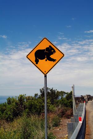 Australia, warning sign for koala on great ocean road Stock Photo
