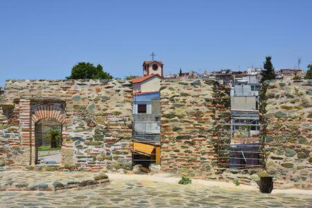Greece, Thessaloniki aka Saloniki, cityview from Trigoniou Tower with orthodox church and homes Stock Photo