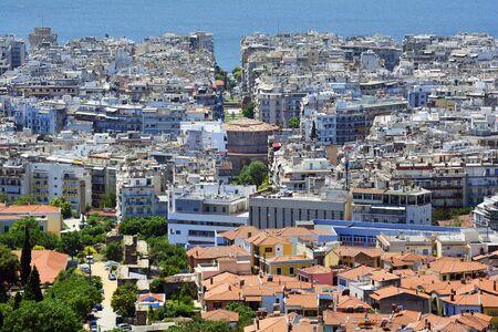Greece, Thessaloniki aka Saloniki, cityscape with Rotonda and Aegean sea Stock Photo