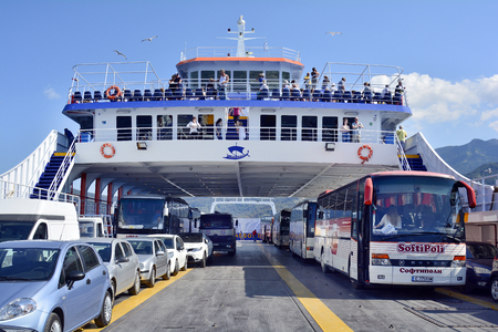 Thassos Island, Greece - June 10, 2017: Unidentified people , cars and buses on ferry, shuttle between mainland and Thassos island Editorial