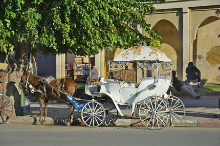 Meknes, Morocco - November 19th 2014: Unidentified people and traditional horse drawn coach for wedding or tourists  in front of medieval city wall