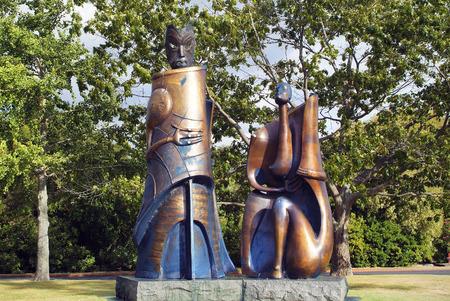 Rotorua, North Island, New Zealand - March 11, 2005: Bronze Maori artwork in new style in Government garden